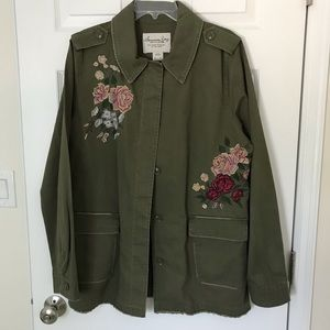 American Rag Floral Embroidered Utility Jacket XL,